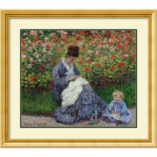 Framed Art Print 'Camille Monet with a Child in Painter's Garden at Argenteuil, 1875' by Claude Monet 35 x 31-inch