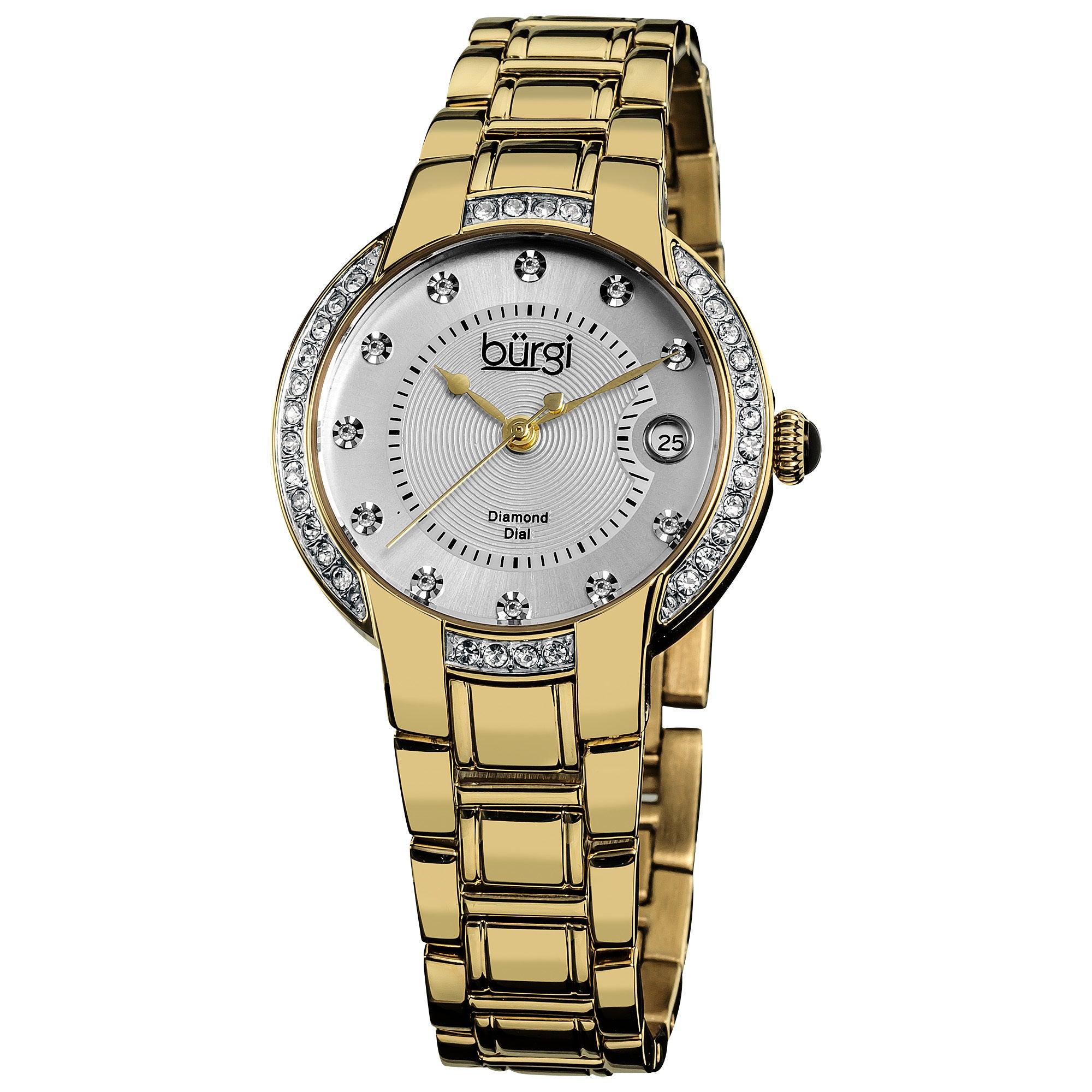Burgi Women's Stainless Steel Diamond Date Gold-Tone Brac...