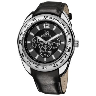 Joshua & Sons Men's Multifunction Tachymeter Leather Grey Strap Watch
