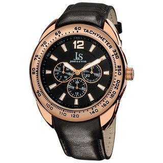 Joshua & Sons Men's Multifunction Tachymeter Rose-Tone-Bezel Leather-Strap Watch