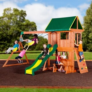 Backyard Discovery Somerset Brown/Green Wood/Plastic Swingset