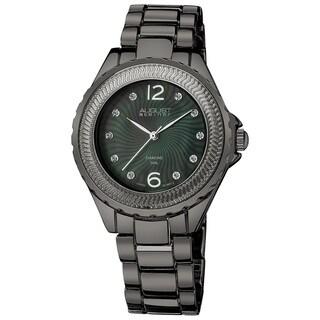 August Steiner Women's Diamond Mother of Pearl Black Bracelet Watch with Dark Gray Finish
