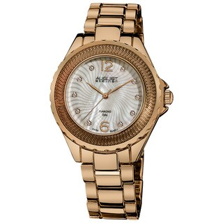 August Steiner Women's Diamond Mother of Pearl Rose-Tone Bracelet Watch with FREE GIFT