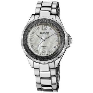 August Steiner Women's Diamond Mother of Pearl Bracelet Watch in Silver-Tone Finish with FREE Bangle