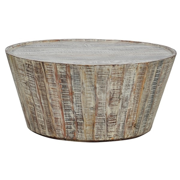 Hamshire Reclaimed Wood 32 Inch Barrel Coffee Table By Kosas Home   Free  Shipping Today   Overstock.com   15304172