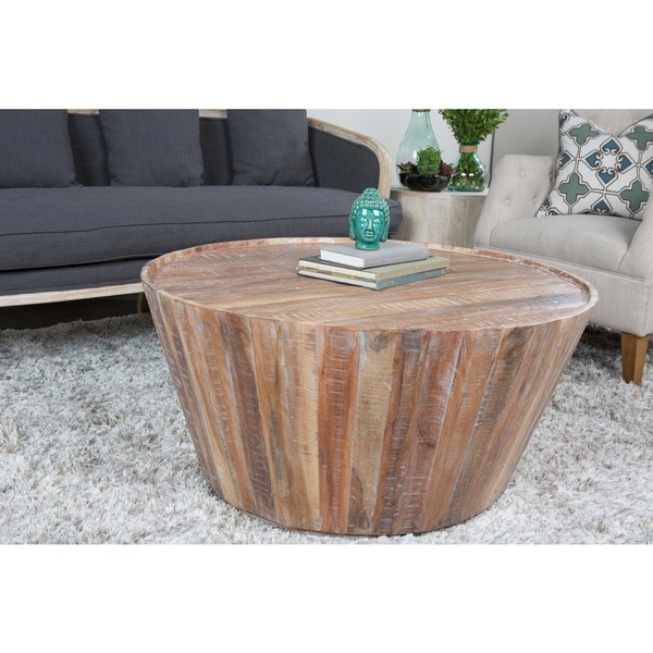 Carbon Loft Lovelace Reclaimed Wood 32inch Barrel Coffee Table