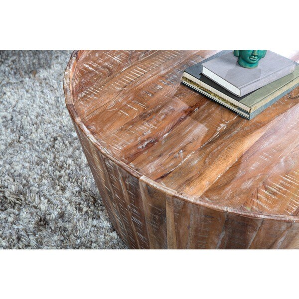 Beautiful Hamshire Reclaimed Wood 32 Inch Barrel Coffee Table By Kosas Home   Free  Shipping Today   Overstock.com   15304172