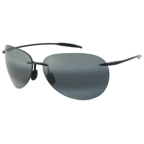 Maui Jim Unisex 'Sugar Beach' 421 02 Rimless Black Aviator Sunglasses