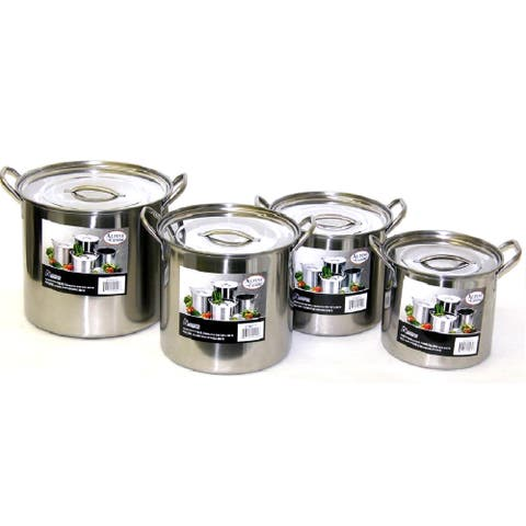 Alpine Stainless Steel Big 8-piece Stock Pot Set 6/8/12/15 Quart