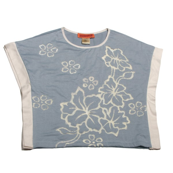 Funkyberry Girls Grey Flower Crop Top