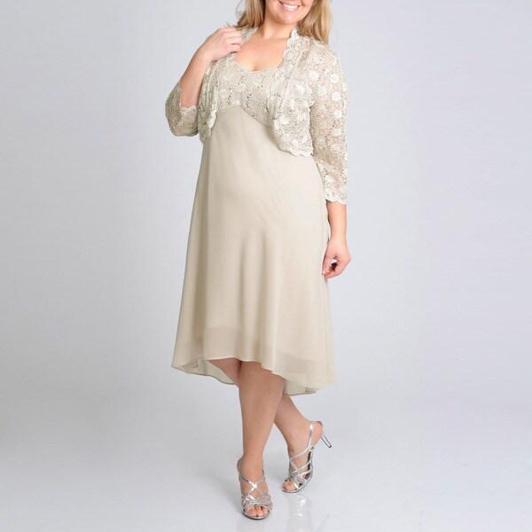 R & M Richards Women's Plus Sequin Lace Jacket Dress