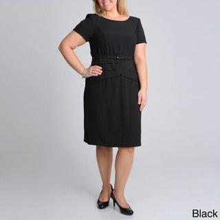 R & M Richards Women's Plus Belted Fashion Dress
