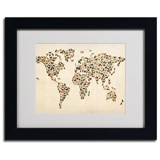Michael Tompsett 'World Map...Cats' Framed Matted Art