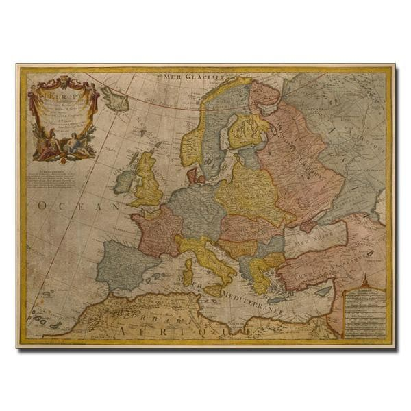 Paris Guillaume Delisle 'Map of Europe, 1700' Canvas Art - Multi