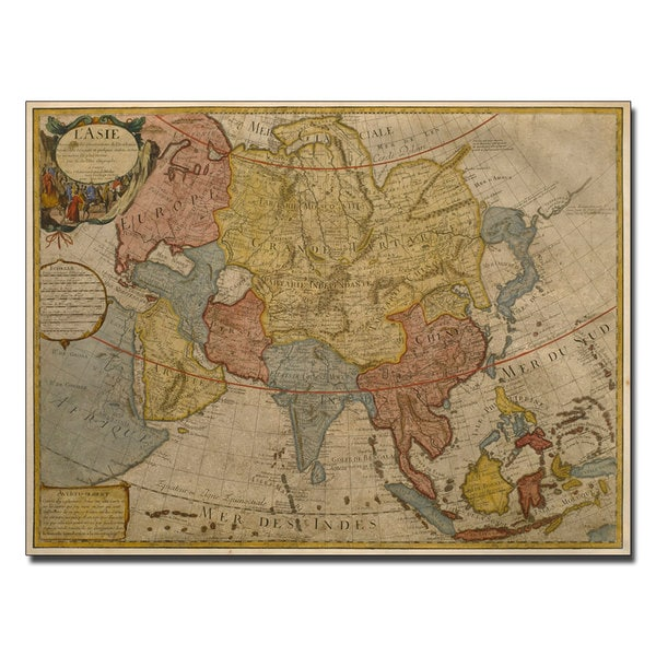Shop Paris Guillaume Delilse Map Of Asia 1700 Canvas Art Free