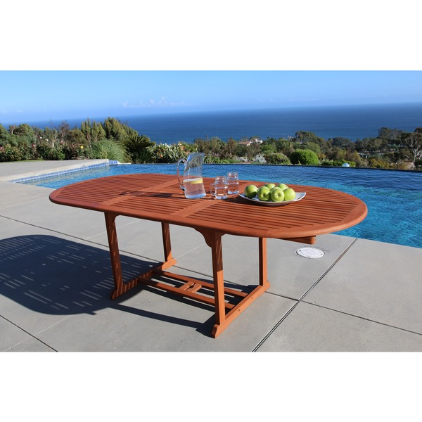 Outdoor Eucalyptus Oval Extention Table With Foldable Butterfly   Free  Shipping Today   Overstock.com   15304652