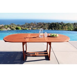Havenside Home Surfside Outdoor Eucalyptus Oval Extention Table with Foldable Butterfly