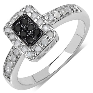 Sterling Silver 1/3ct TDW Black and White Diamond Ring (I-J, I3)