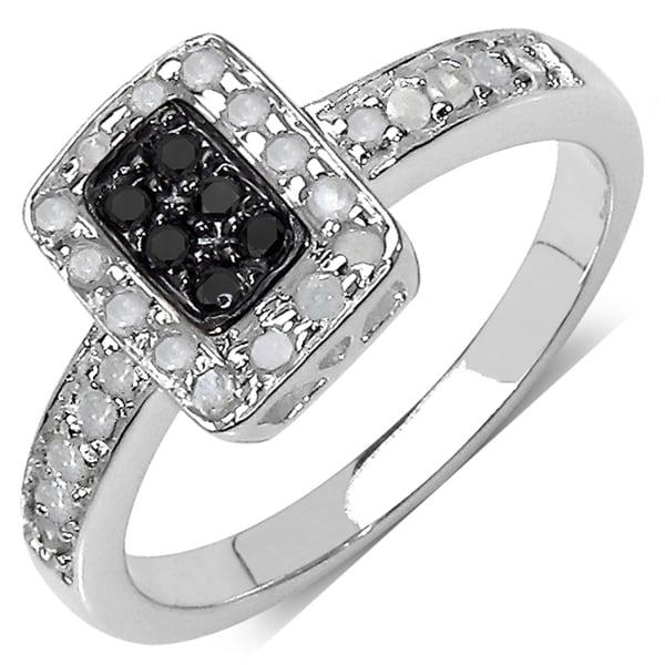 Sterling Silver 1/3ct TDW Black and White Diamond Ring (I-J, I3)
