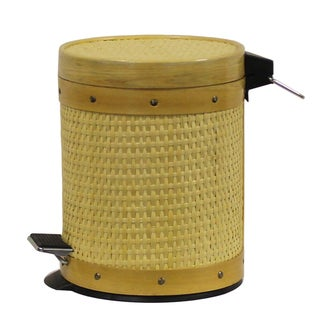 International Caravan Rattan 1.3-gallon Round Step Trash Bin with Liner