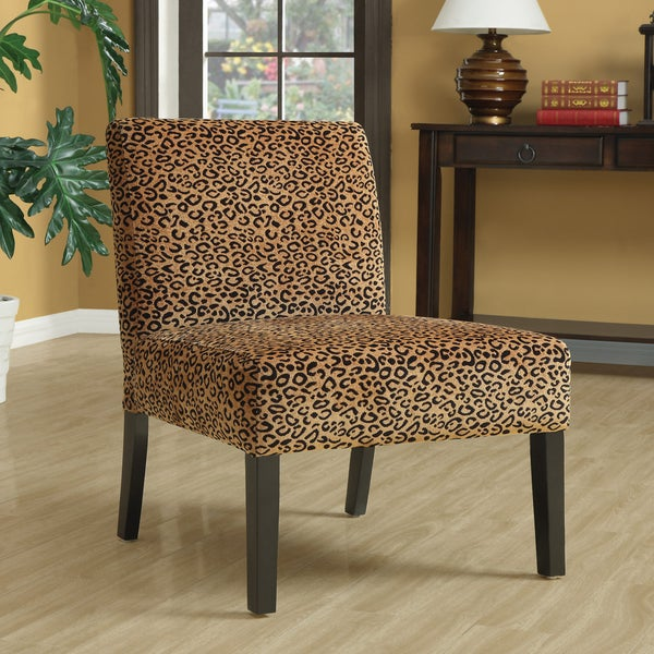 Leopard Print Espresso Finish Accent Chair Free Shipping