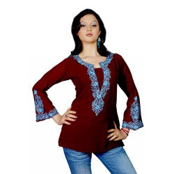 Women's Burgundy Soft Crepe Kurti/ Tunic (India)