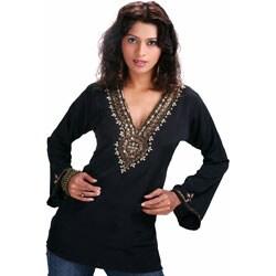 Handmade Black Long Sleeve Kurti/Tunic with Designer Bead Work (India)