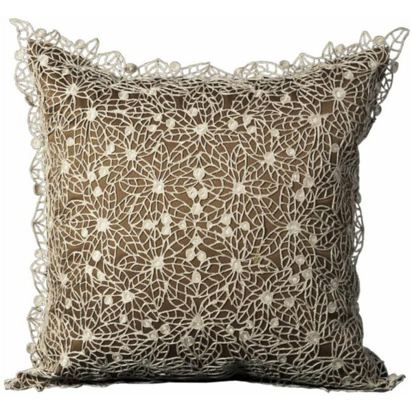 Mina Victory Crochet Floral Brown 40 X 40inch Decorative Pillow By Adorable Nourison Decorative Pillows