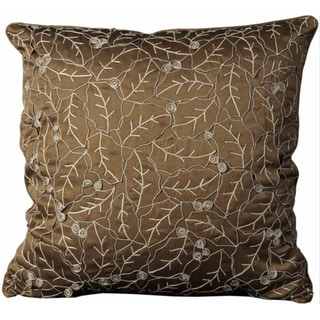 Mina Victory Crochet Leaves Brown 20 x 20-inch Brown Decorative Pillow by Nourison