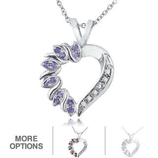 Glitzy Rocks Silvertone Gemstone and Diamond Accent Heart Necklace