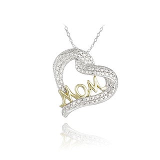DB Designs Two-tone Diamond Accent Heart 'Mom' Necklace