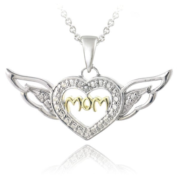 DB Designs Two-tone Diamond Accent 'Mom' Heart and Wings Necklace