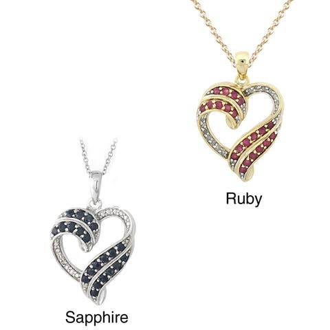 Glitzy Rocks Ruby or Sapphire and Diamond Accent Heart Necklace