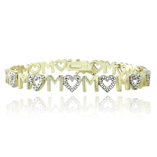 DB Designs Goldtone Diamond Accent 'Mom' Heart Bracelet