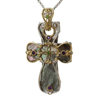 Michael Valitutti Two-tone Shell, Amethyst and Chrome Diopside Necklace