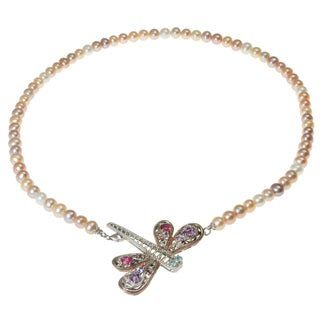 Michael Valitutti Two-tone Multi-gemstone and Pearl Necklace (6.5-7 mm)
