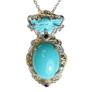 Michael Valitutti Two-tone Turquoise and Blue Sapphire Necklace