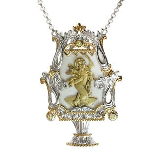 Michael Valitutti Two-tone Porcelain Cameo and Yellow Sapphire Necklace