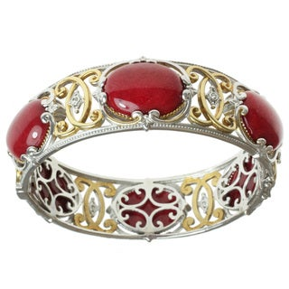 Michael Valitutti Two-tone Red Coral and White Sapphire Hinged Bangle