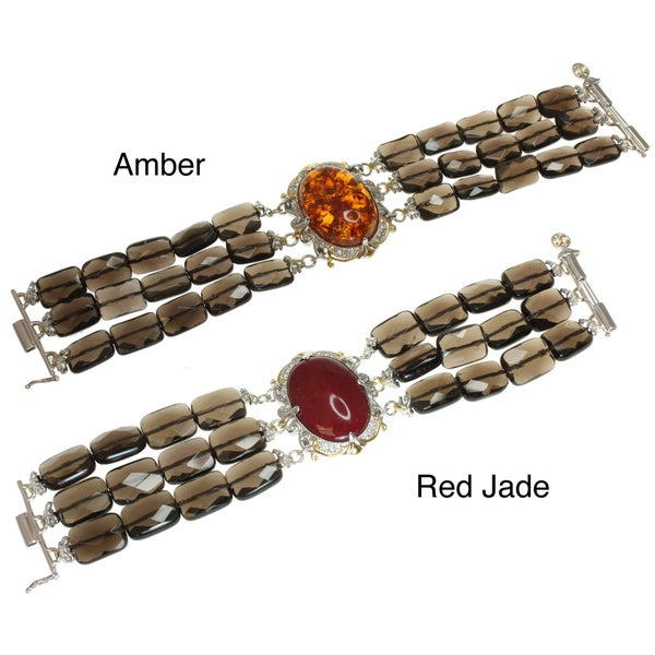 Michael Valitutti Two-tone Amber or Red Jade Bracelet