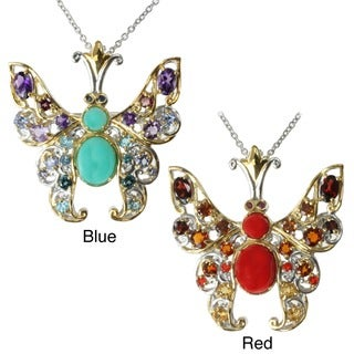 Michael Valitutti Two-tone Multi-gemstone Butterfly Necklace