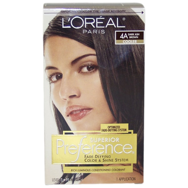 L X27 Oreal Superior Preference 4a Dark Ash Brown Cooler Fade Defying Hair