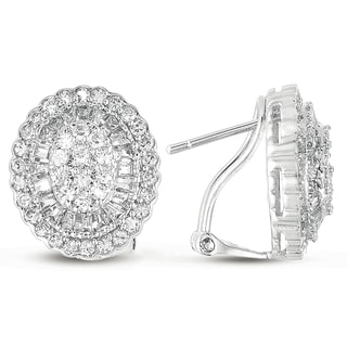 Collette Z Sterling Silver Cubic Zirconia Oval Earrings