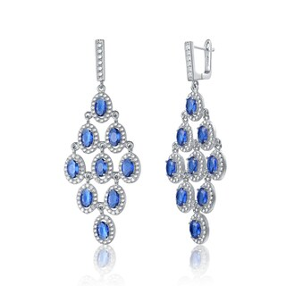 Collette Z Sterling Silver Blue Cubic Zirconia Oval Chandelier Earrings