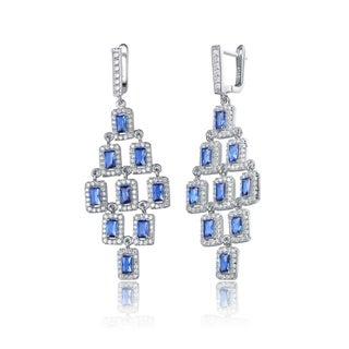 Collette Z Sterling Silver Blue Cubic Zirconia Square Chandelier Earrings