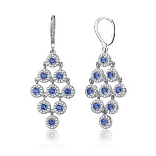 Collette Z Sterling Silver Blue Cubic Zirconia Round Chandelier Earrings.