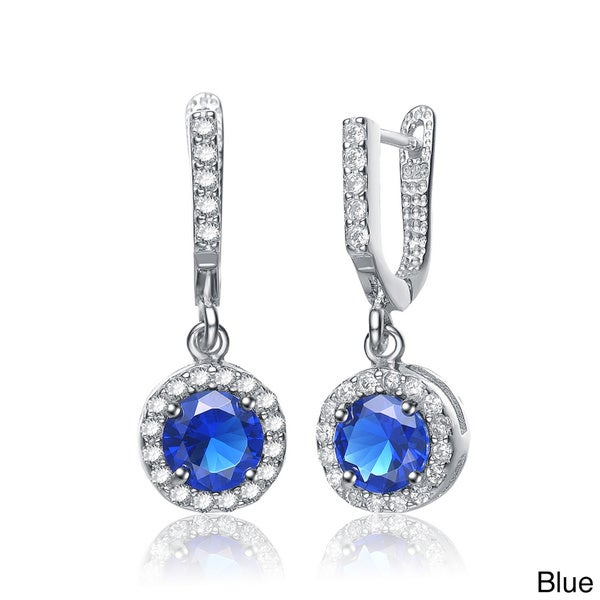 Collette Z Sterling Silver Blue or Green Cubic Zirconia Round Earrings