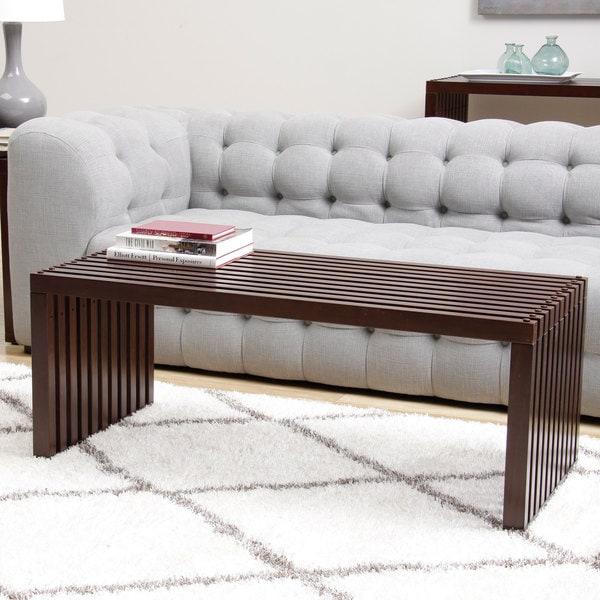 slat walnut finish coffee table - free shipping today - overstock