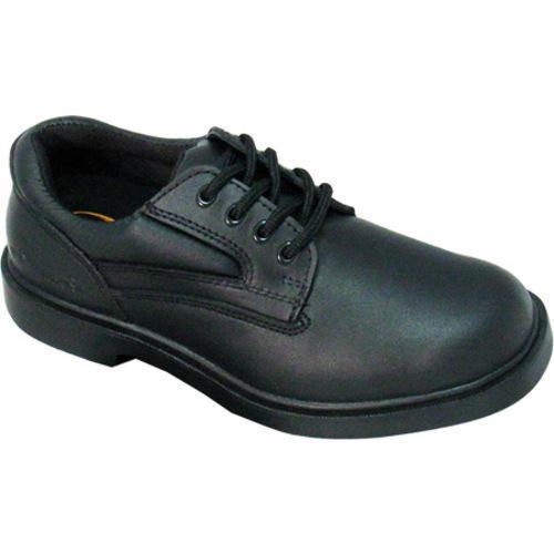Men's Genuine Grip Footwear Slip-Resistant Steel Toe Oxford Black Leather