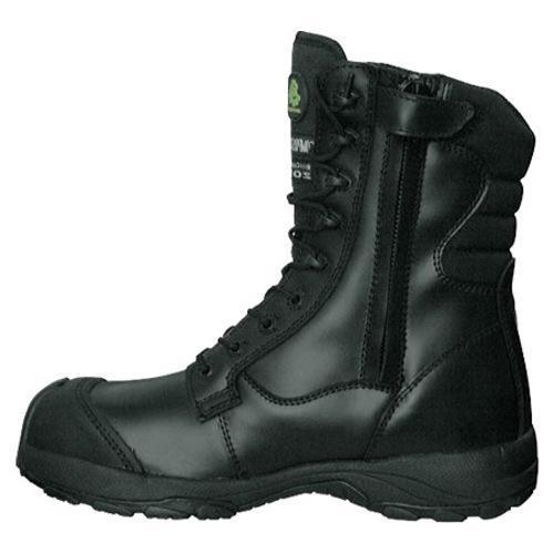 Men's Dawgs Ultralite 8in Size Zip Comfort Pro Composite Toe Sa Black Full Grain Leather